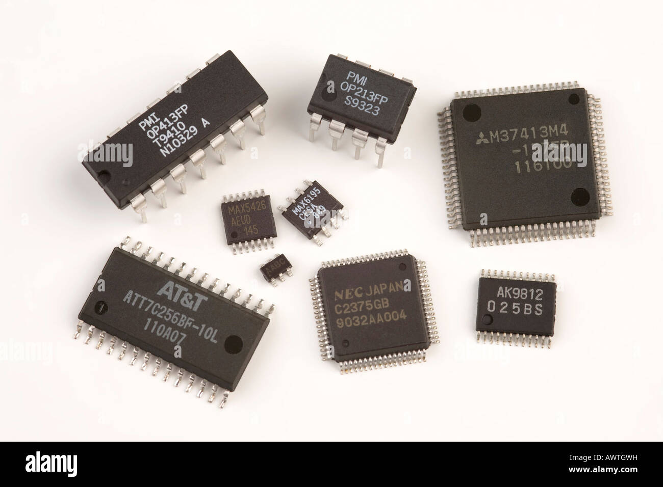 various types of integrated circuits stock photo 16651564 alamy