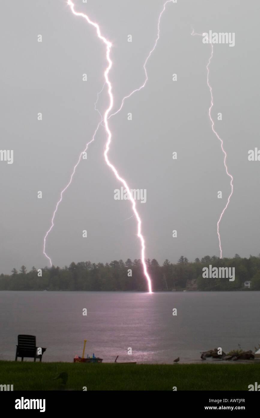 Lightning Strke on Lake Sacandaga, Adirondack Mountains, New York, United States - Stock Image