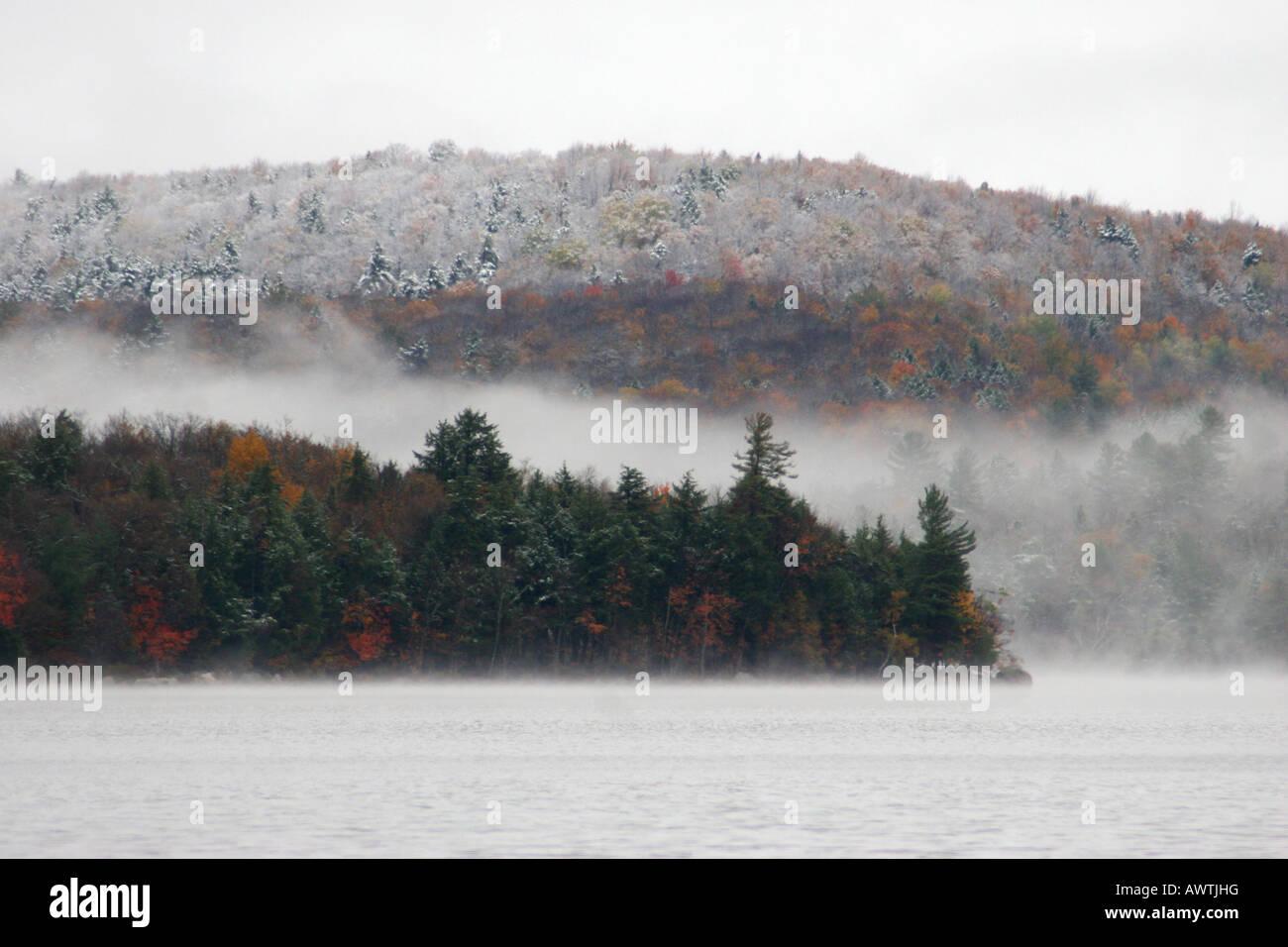 Changing seasons on Sacandaga Lake, Adirondack Mountains, New York, United States - Stock Image