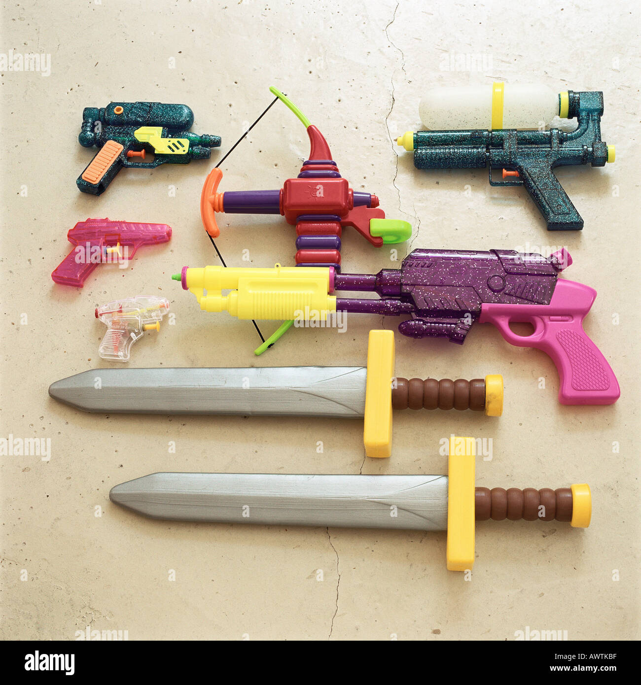 Toy Swords And Guns : Children s toy swords and guns stock photo alamy