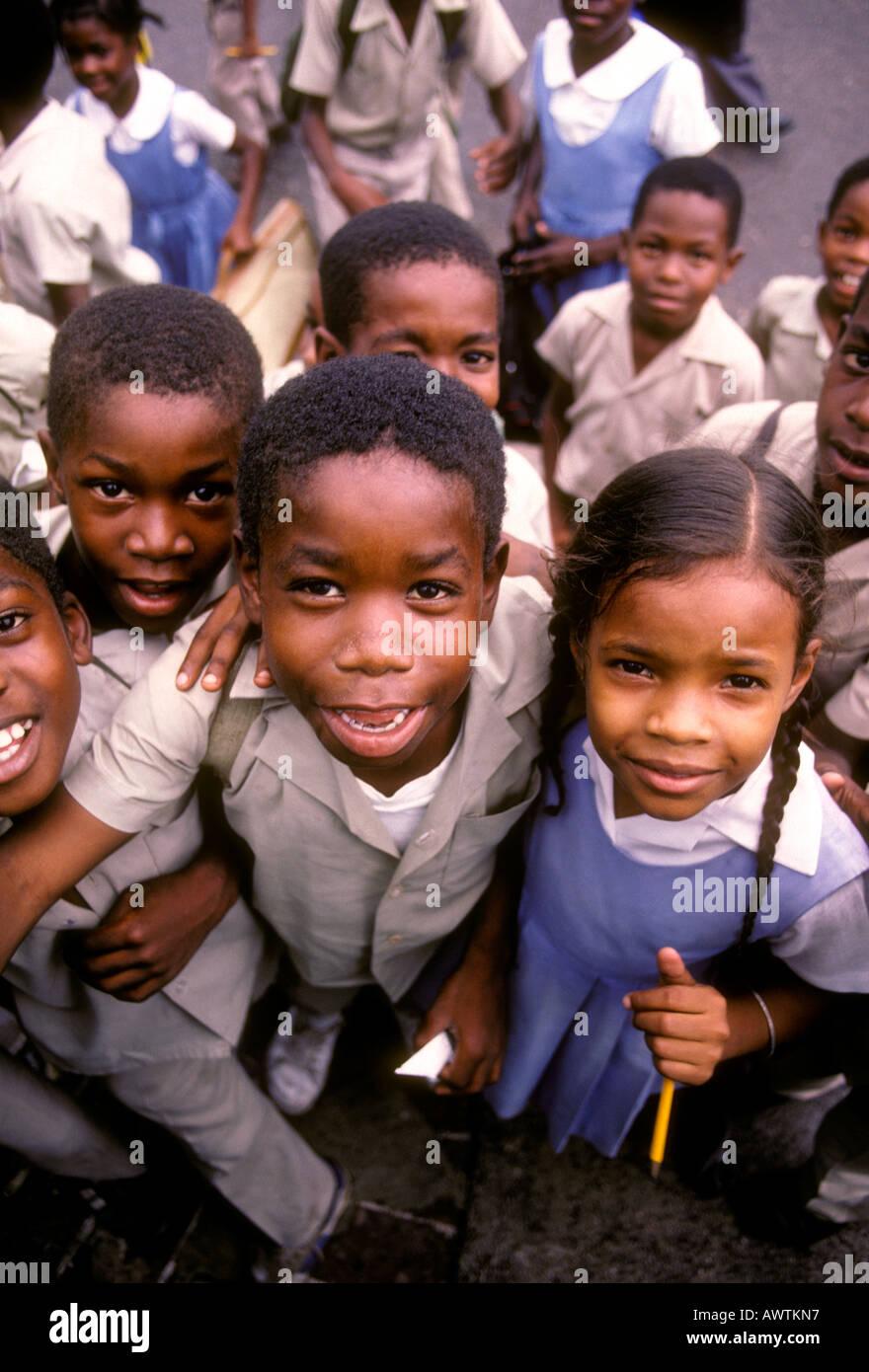Jamaican boys, Jamaican girls, schoolboys, schoolgirls, schoolchildren, students, elementary school, Spanish Town, Jamaica, Caribbean, West Indies - Stock Image