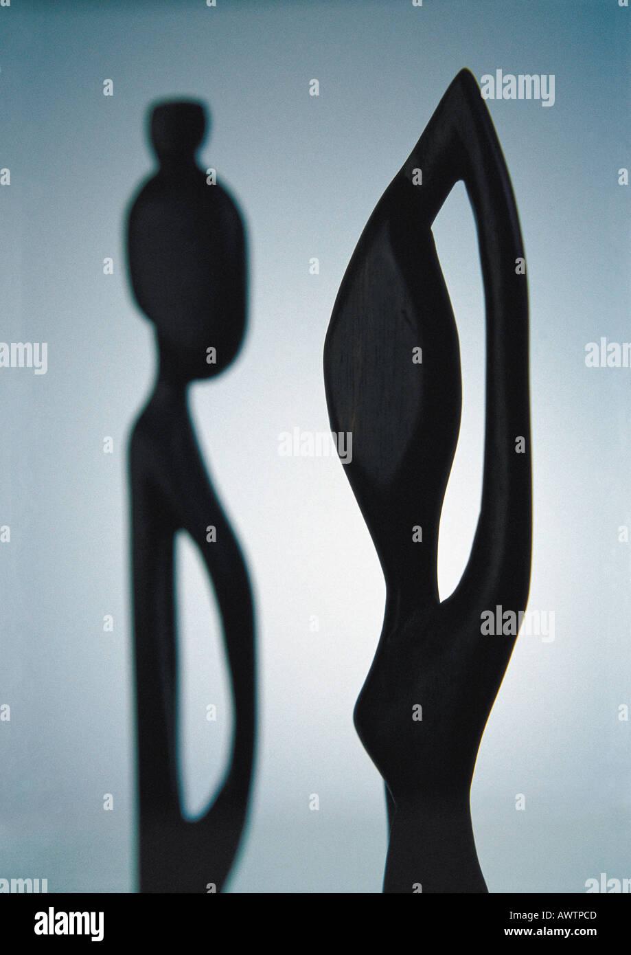 African sculpture, close-up, backlit - Stock Image