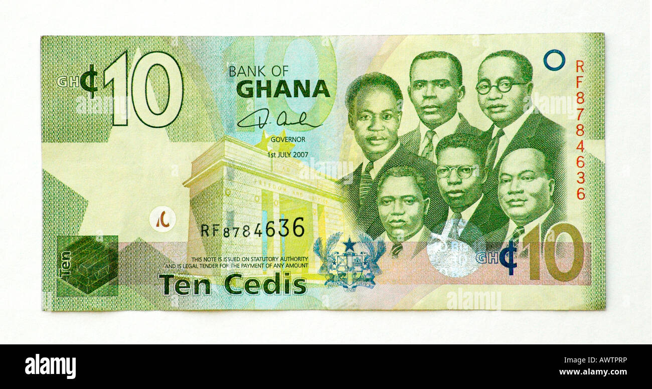 Ghana 10 Cedi bank note - Stock Image
