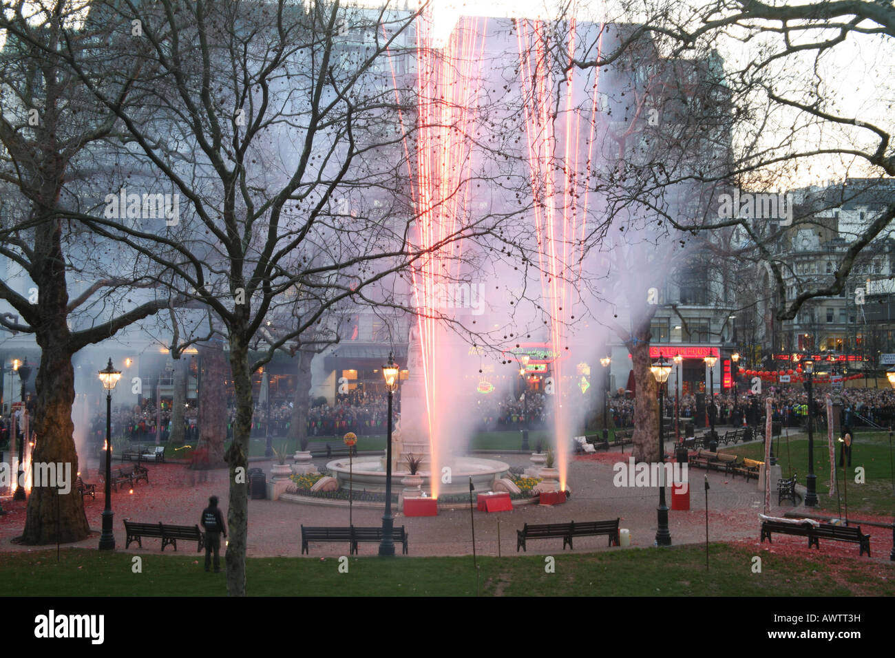 Firework display at the Chinese New Year celebrations, Leicester Square, London, 2008 - Stock Image