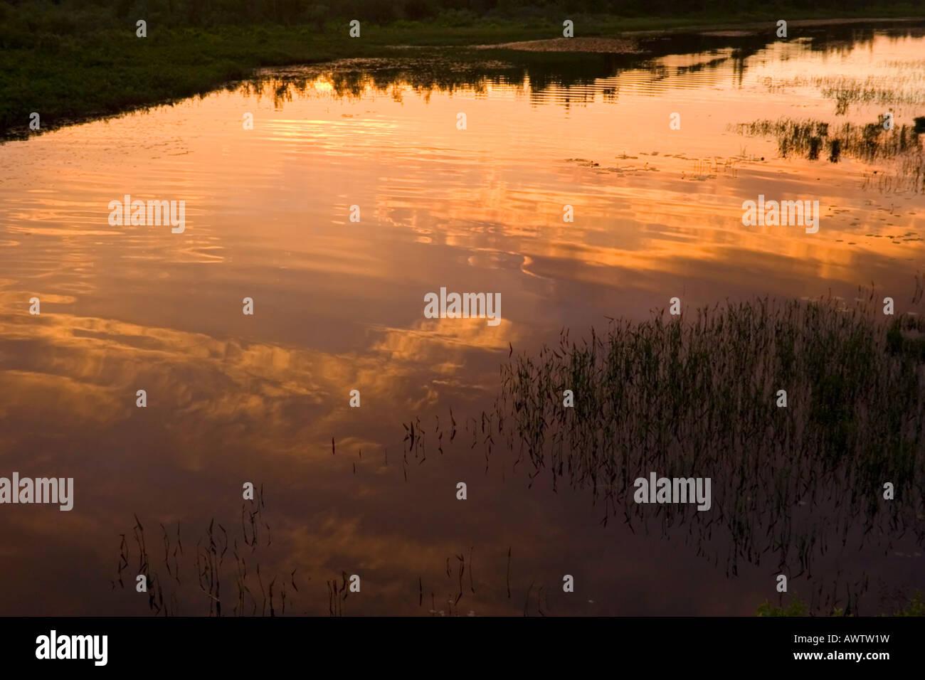 Sunset reflections in the Sacandaga River, Adirondack Mountains, New York, United States - Stock Image