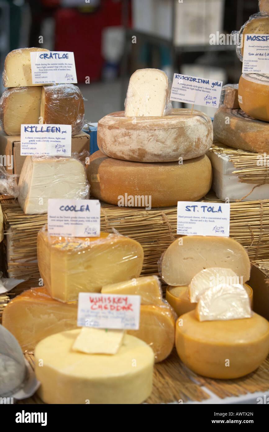 irish cheese selection at an indoor market - Stock Image