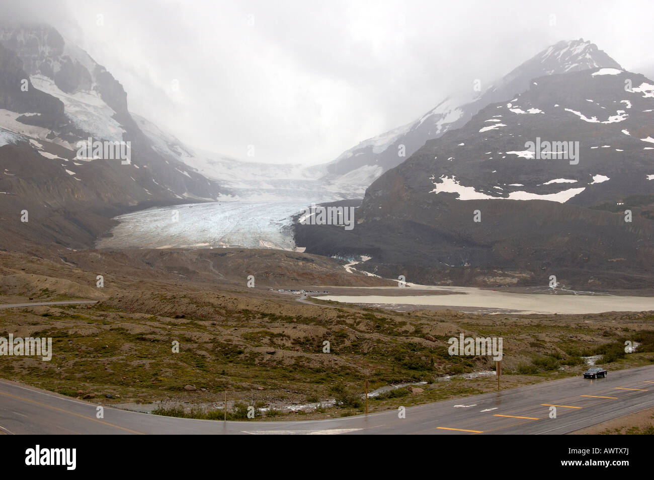 Columbia Icefields and the Athabasca Glacier in wet and windy weather conditions. Stock Photo