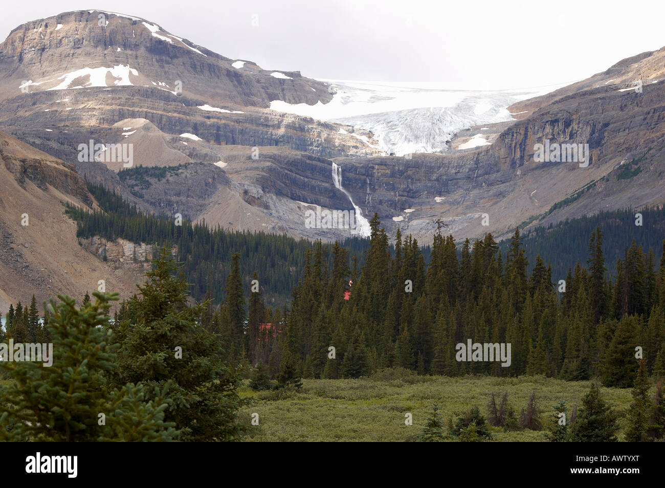 Bow Glacier above Bow Lake and Num-Ti-Jah Lodge in the Banff National Park, Alberta, Canada - Stock Image