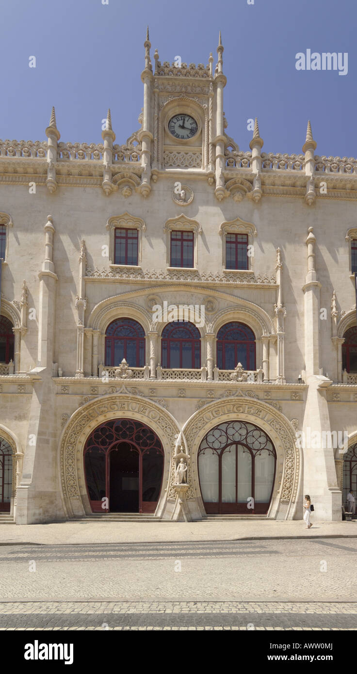 Portugal Lisbon Rossio railway station facade a neo manueline style building in the Baixa district the city centre Stock Photo
