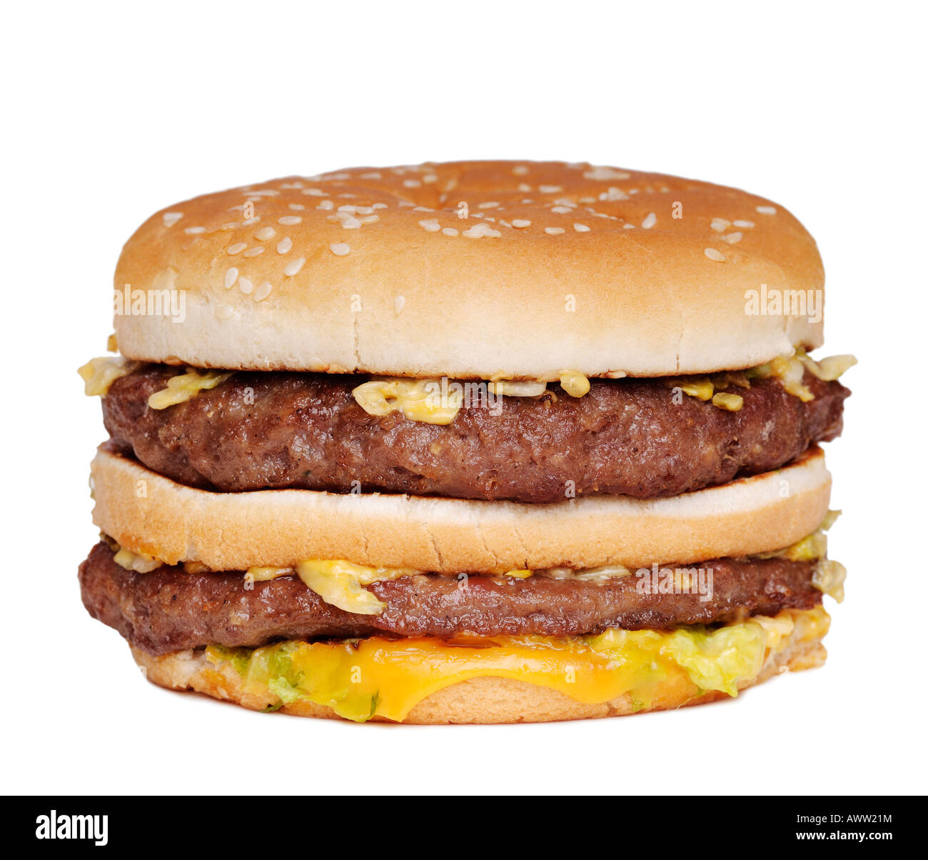 Burger Close Up Against a White Background - Stock Image