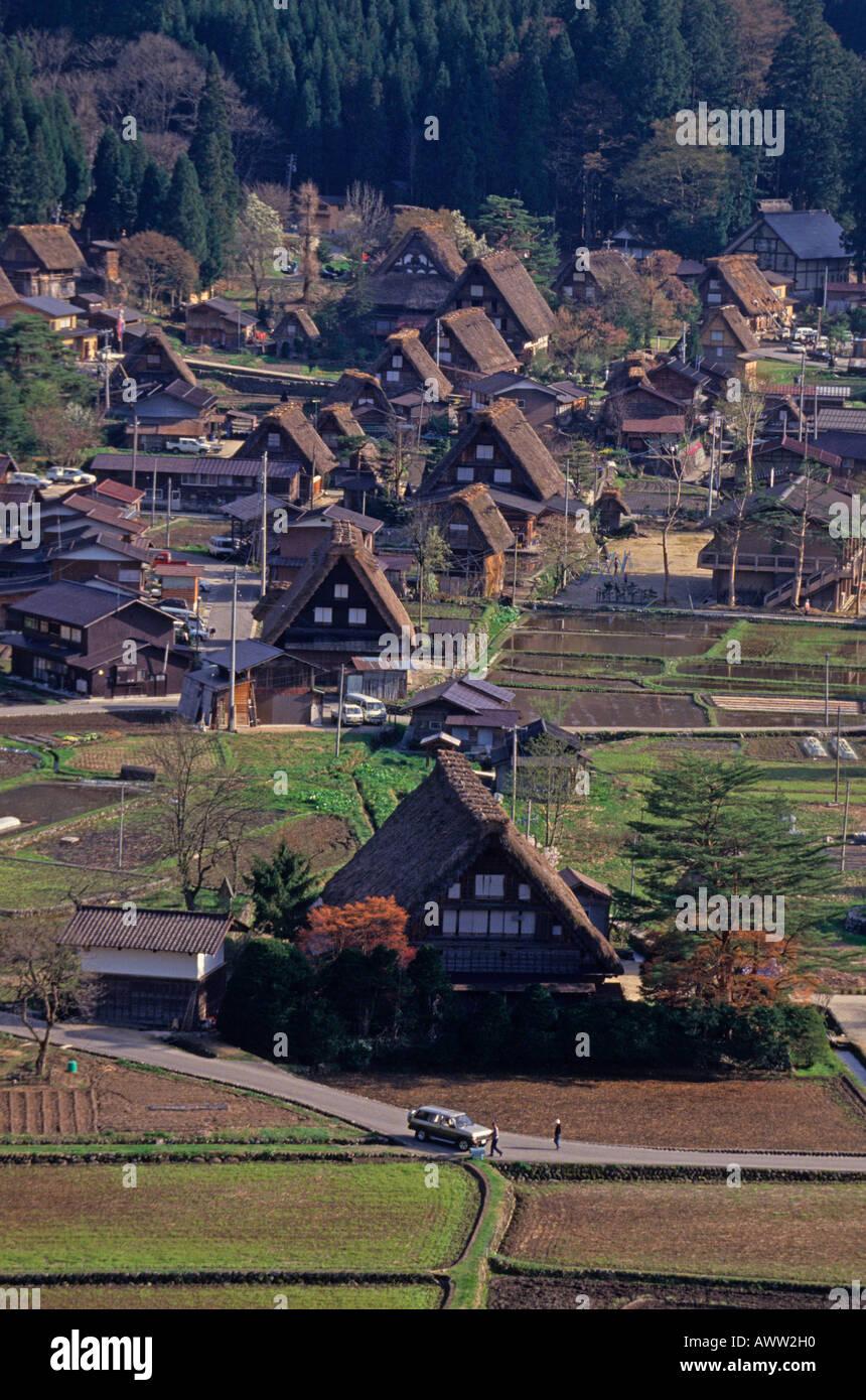 The community of gassho-zukuri houses in Shirakawa Village of Gifu Japan Asia - Stock Image