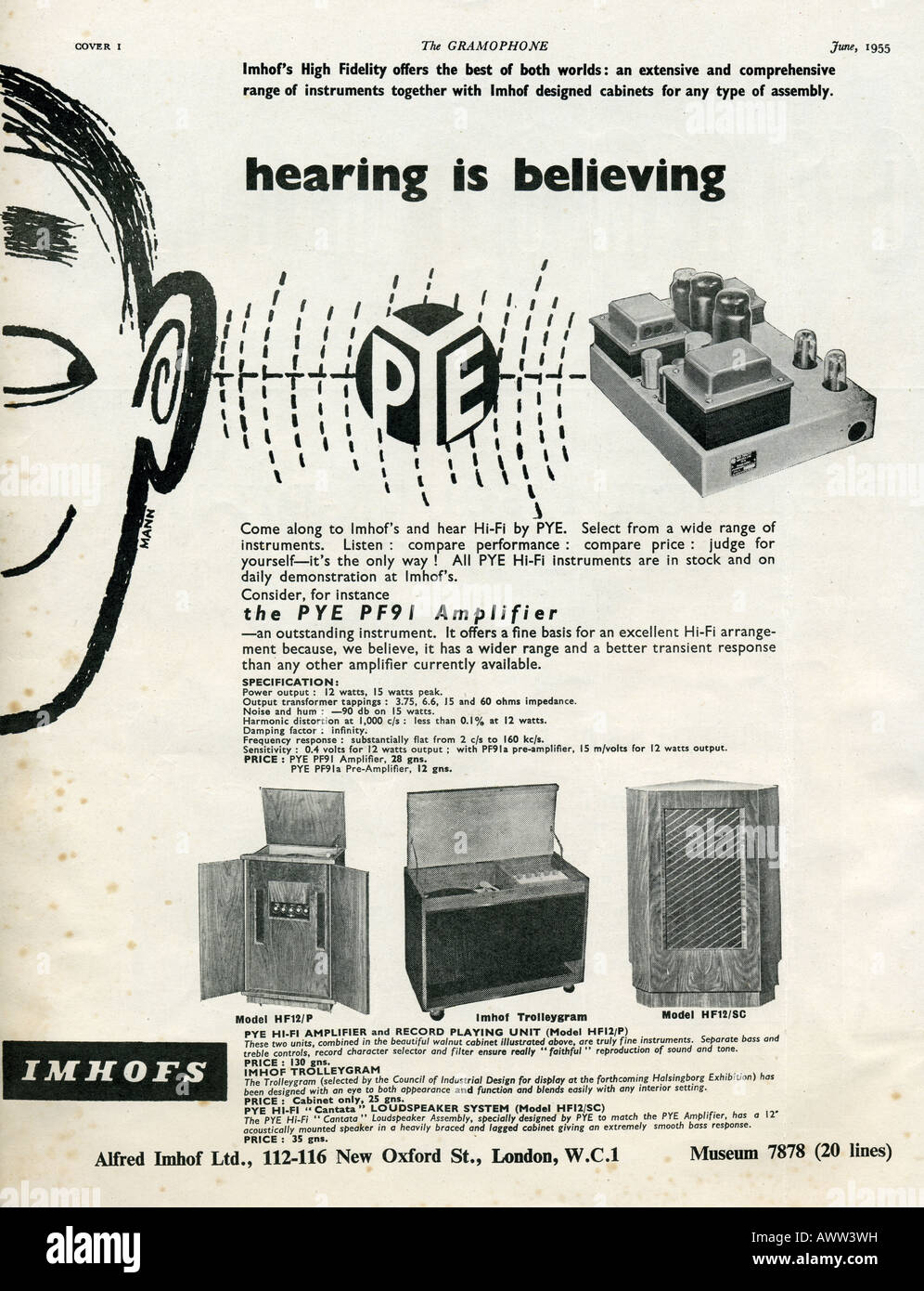 1950s The Gramophone magazine June 1955 advertisement for Imhof High