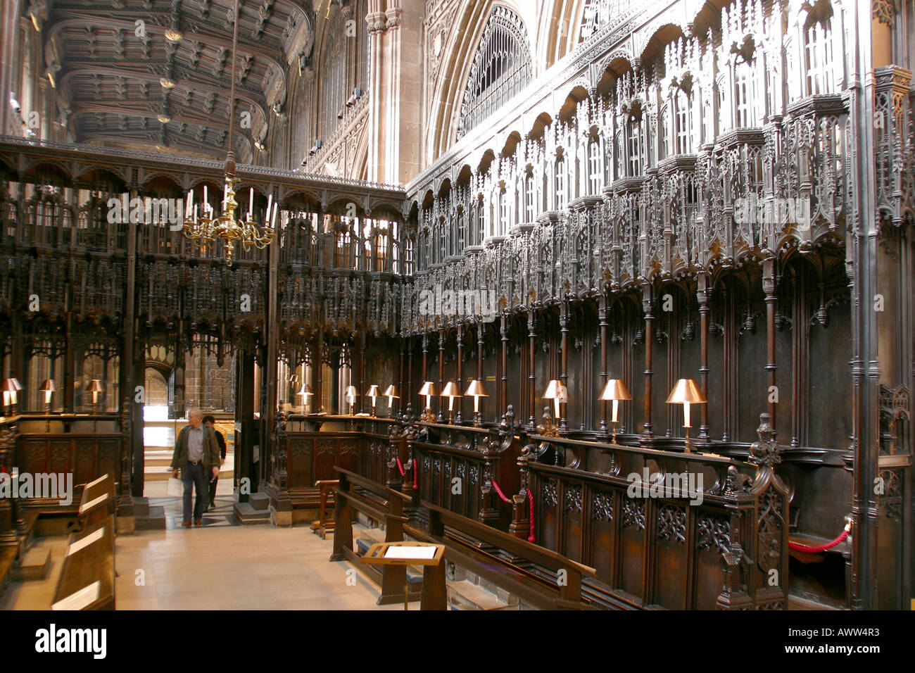 Manchester Millennium Quarter Cathedral the Quire carved wooden architecture - Stock Image