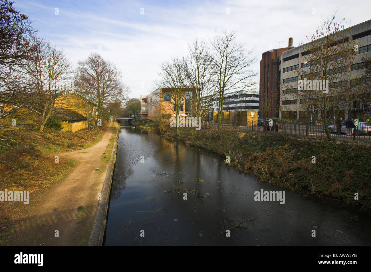 The Light Box Art Gallery River Wey Woking Surrey UK footpath towpath riverbank - Stock Image