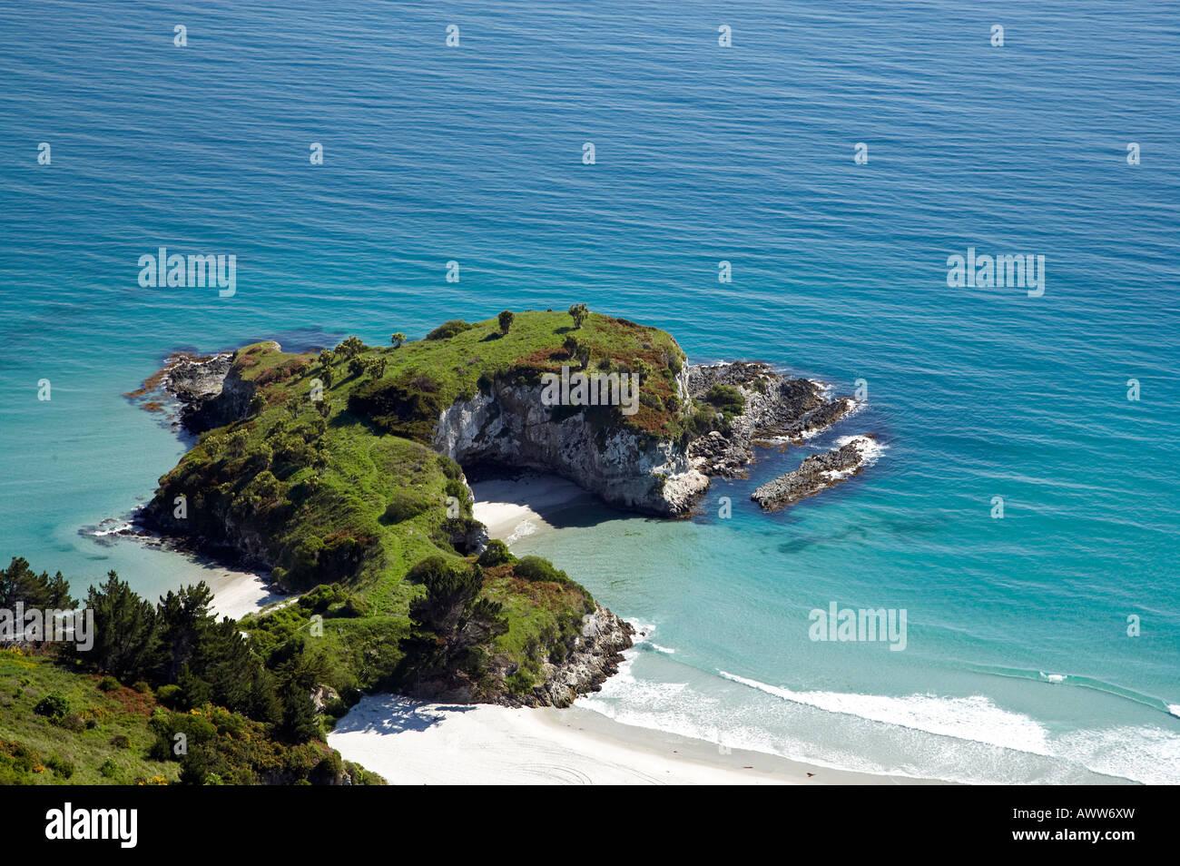 Mapoutahi Historic Maori Pa Site Purakanui Bay north of Dunedin South Island New Zealand aerial Stock Photo