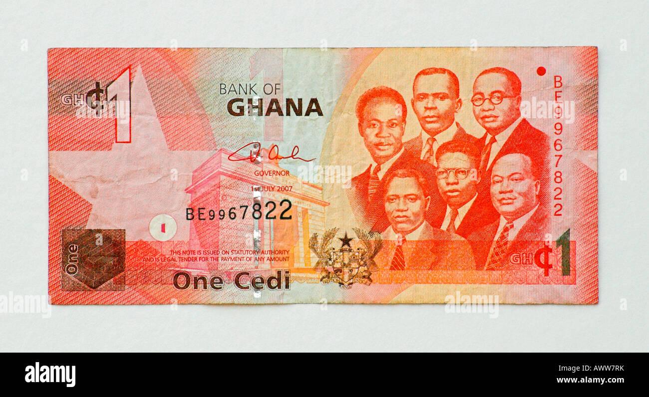 Ghana 1 One Cedi Bank Note - Stock Image