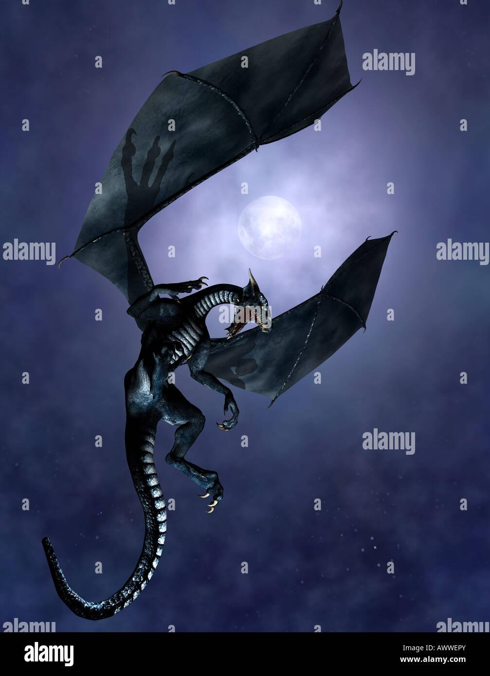 Dragon against sky - Stock Image