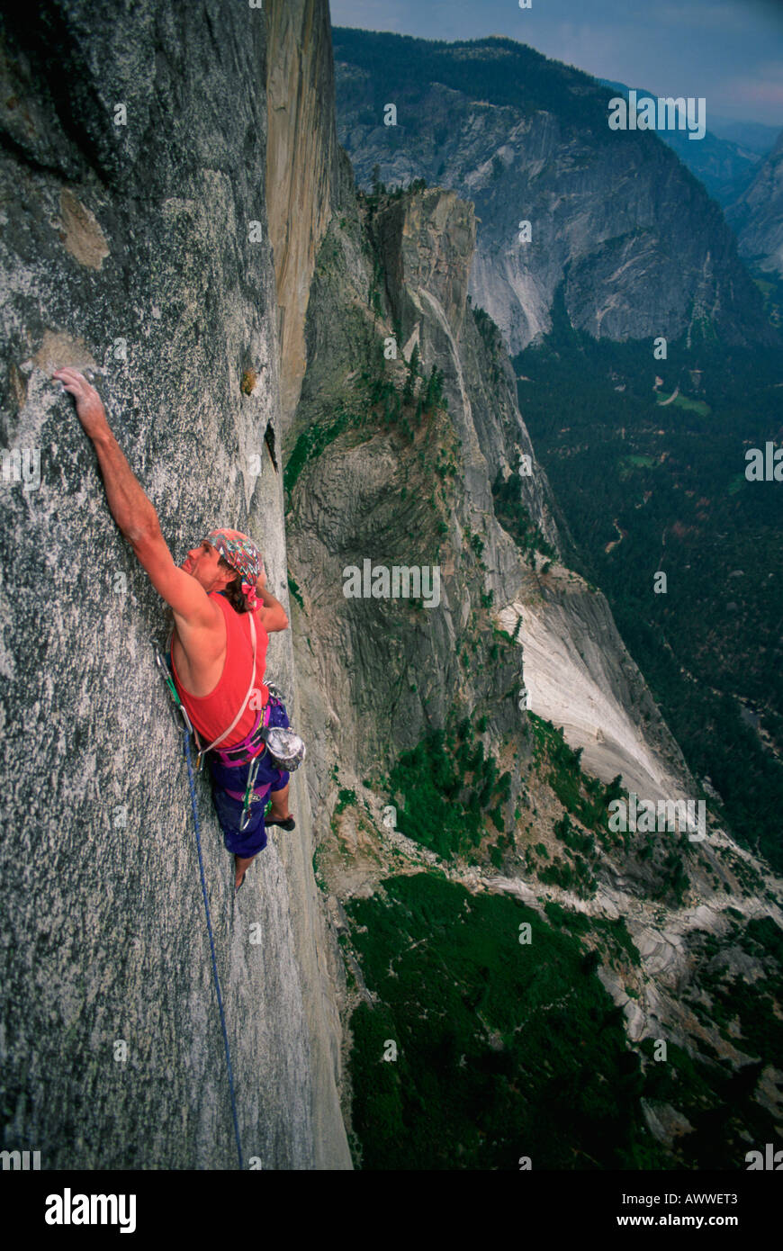 Todd Skinner on first free ascent of direct north-west face of Half Dome, California, United States - Stock Image