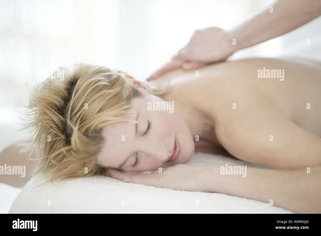 A woman in her forties having a massage Stock Photo