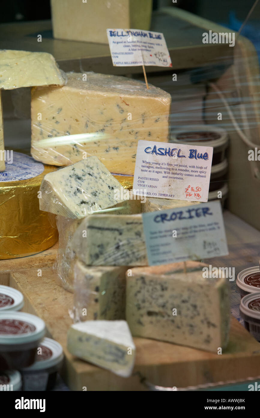 cashel blue irish cheese in a market cheese selection at an indoor market - Stock Image