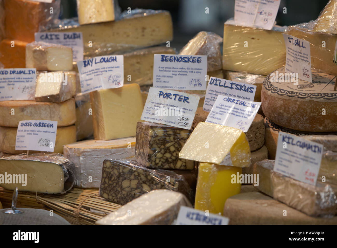 irish cheese selection at an indoor market - Stock Image