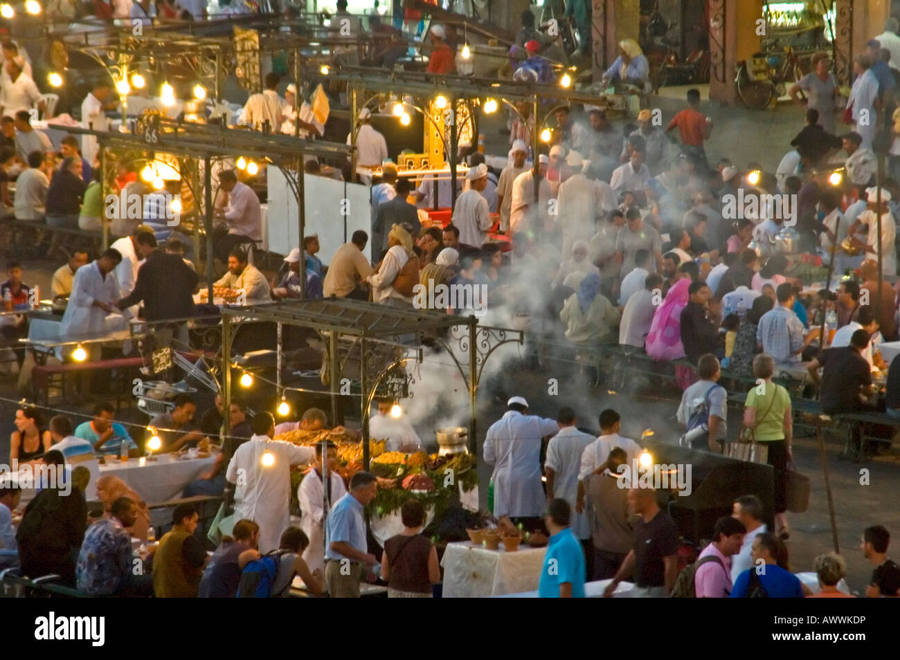 Horizontal aerial close up of the open air food stalls cooking fresh produce in the market square Place Jemaa el Stock Photo