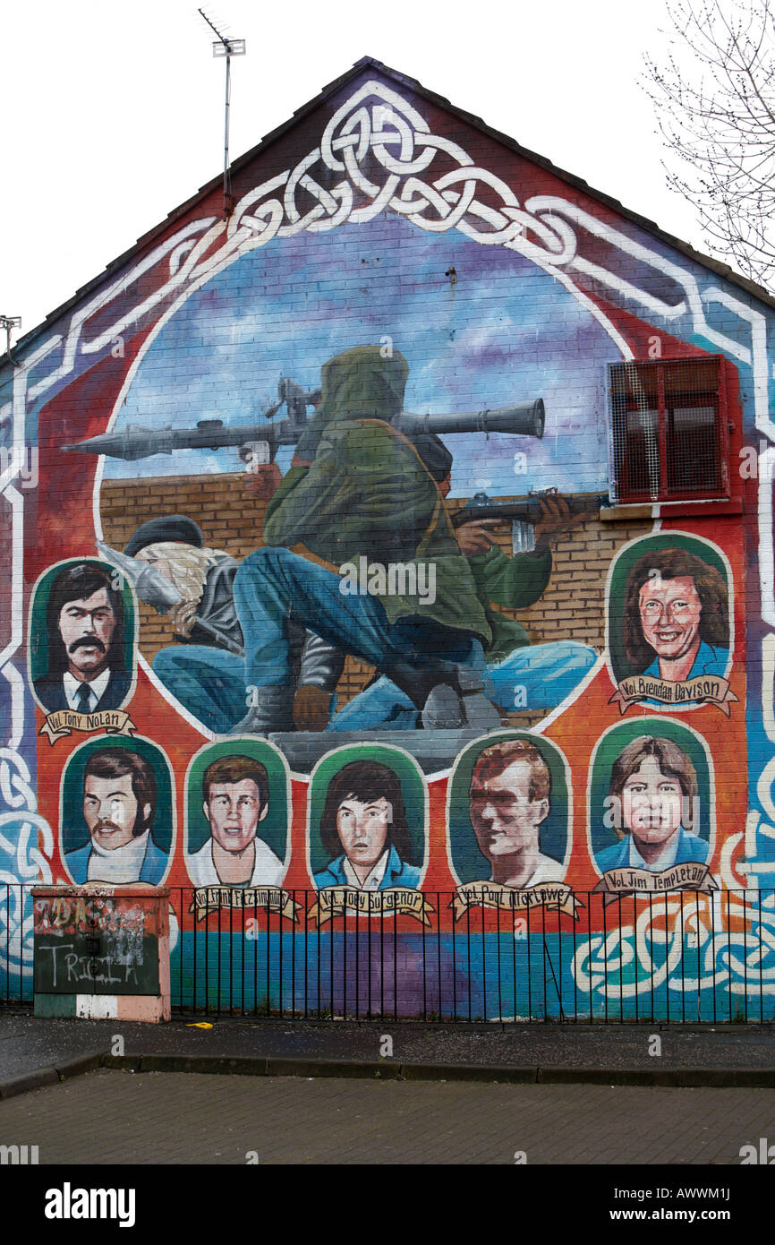 IRA paramilitary memorial mural featuring RPG and IRA sniper in the markets area of Belfast northern ireland Stock Photo