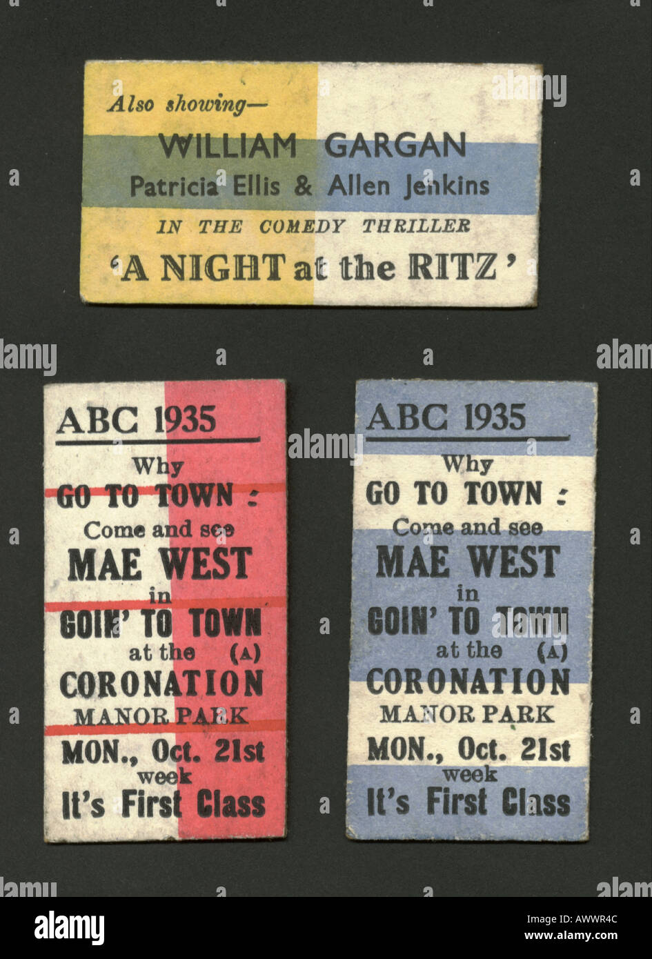Cinema tickets for Mae West in 'Goin' to Town' - Stock Image