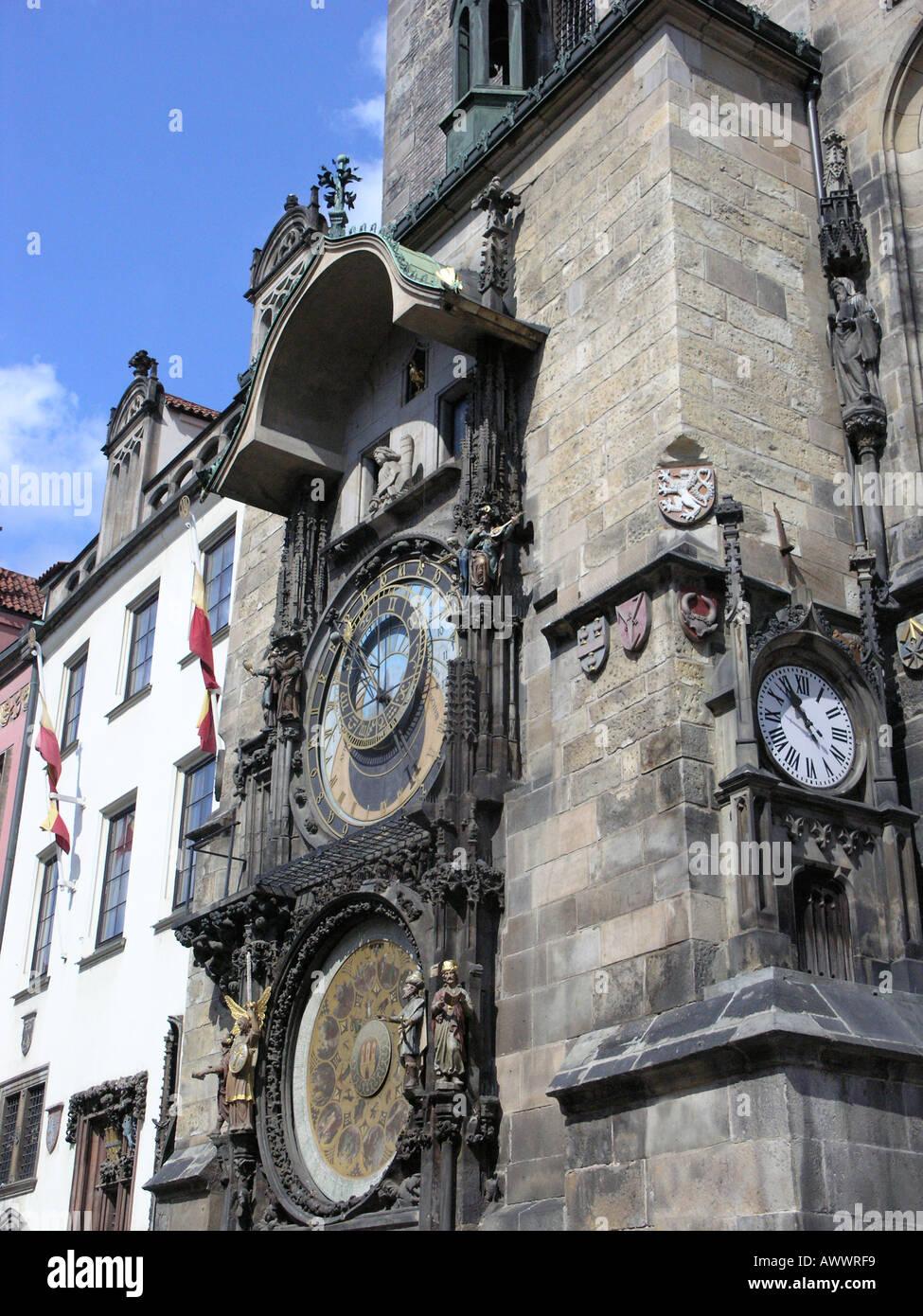 Astronomical Clock Old Town Square Prague Czech Republic - Stock Image
