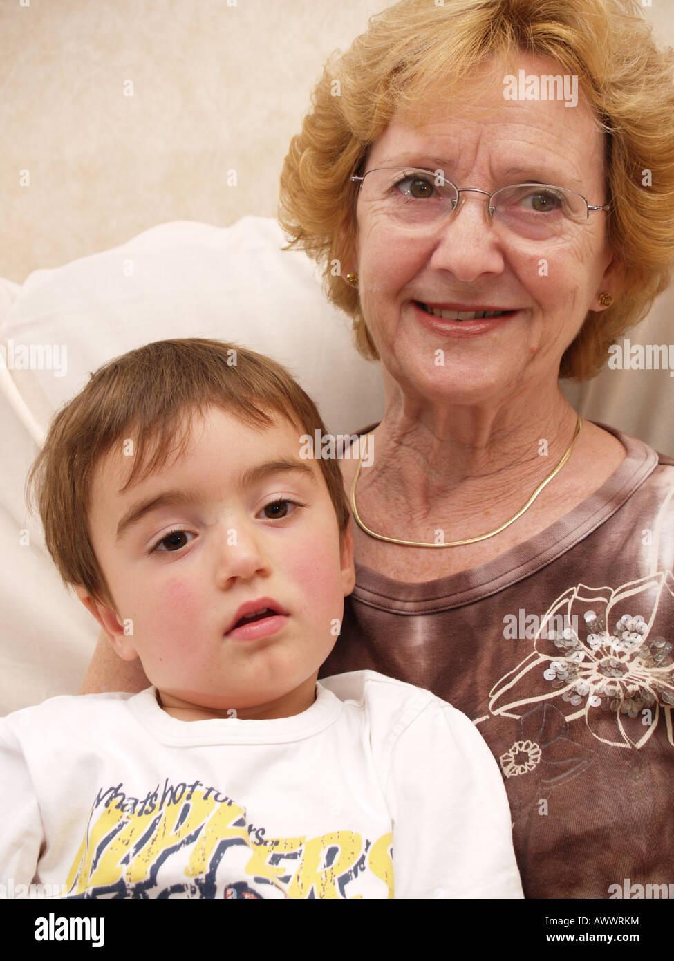 happy family grandmother grandma grandson toddler home secure love