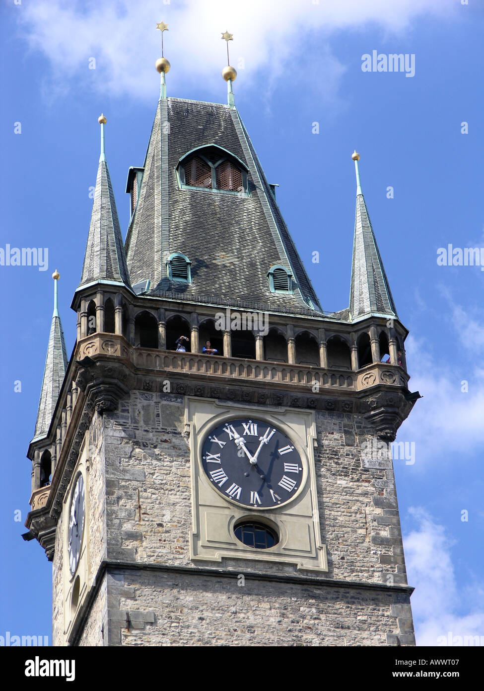 Clock Tower Old Town Square Prague Czech Republic Europe - Stock Image