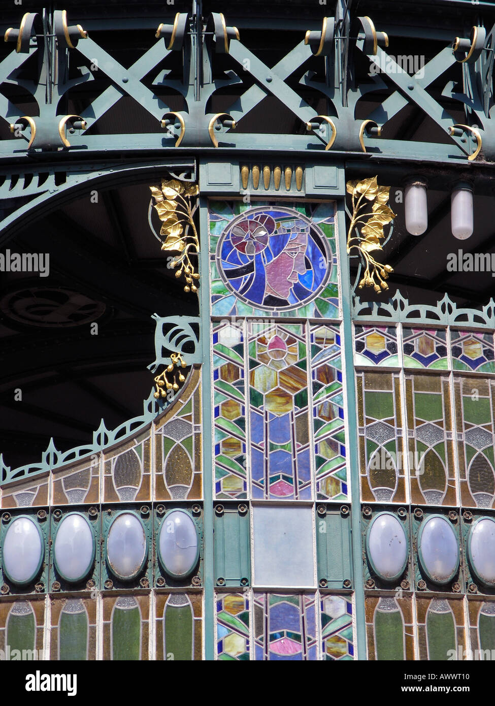 Stained glass art nouveau screen detail over the main entrance Prague Old Town Municipal House Praha Czech Republic Stock Photo