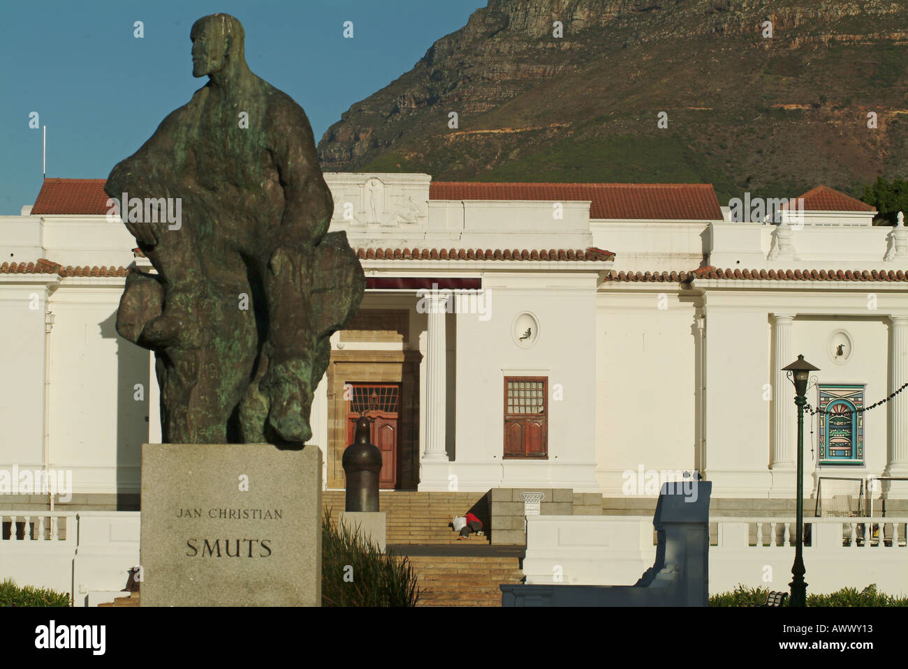 South Africa Cape Town Jan Smuts statue and National gallery - Stock Image