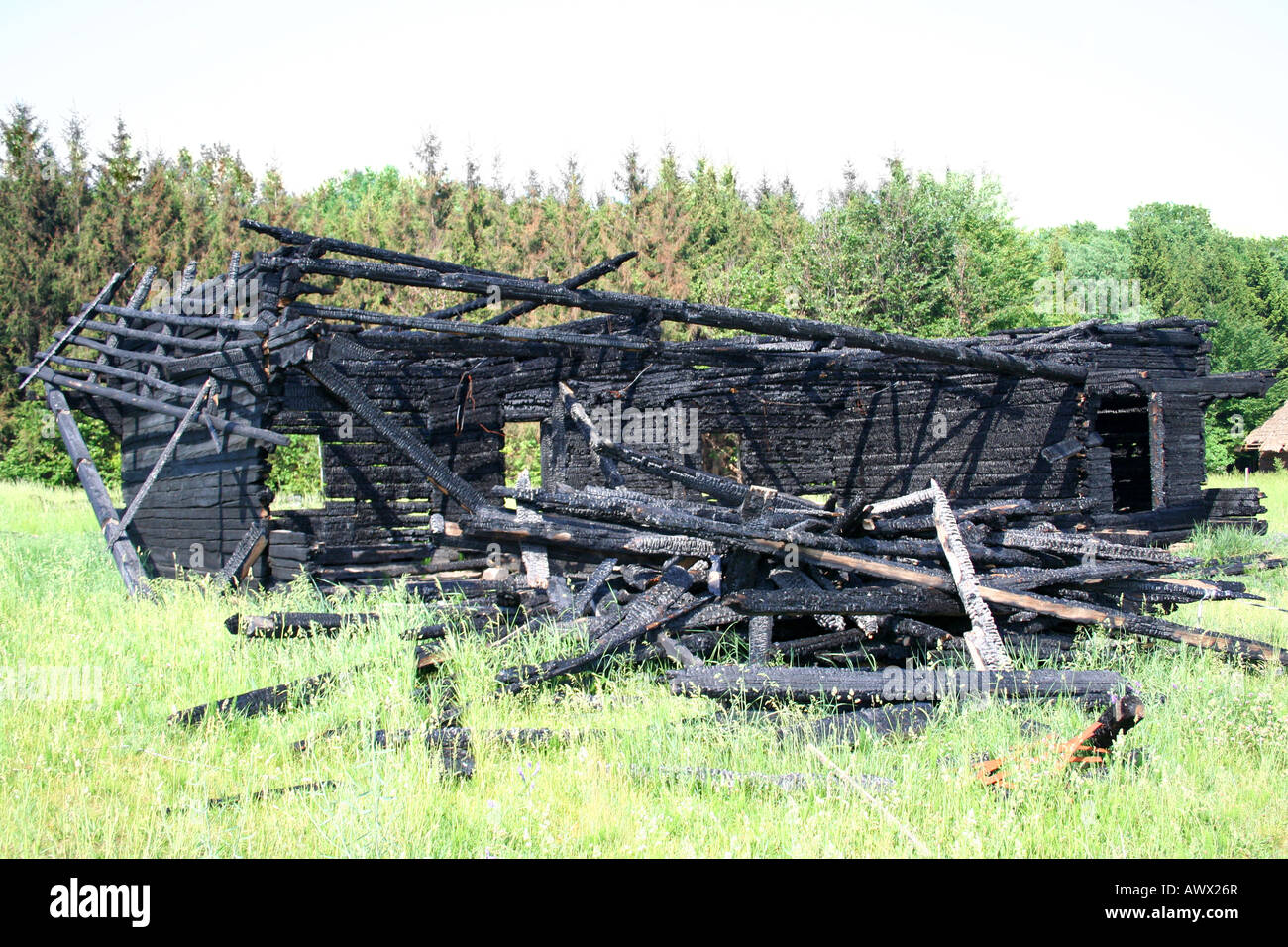 The conflagration house after fire - Stock Image