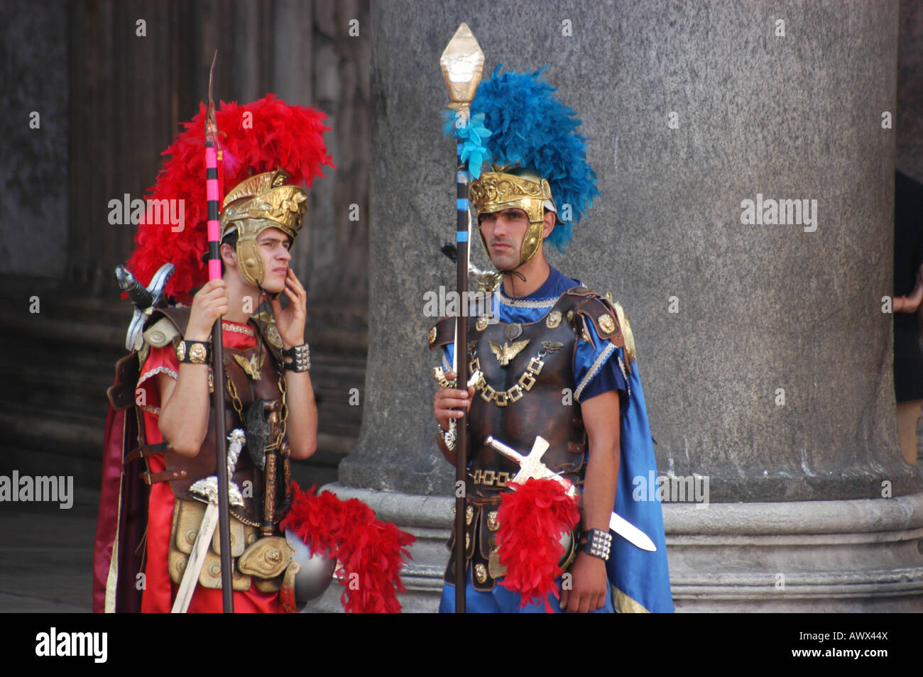 Actors front the Pantheon - Roma Lazio Italy - Stock Image