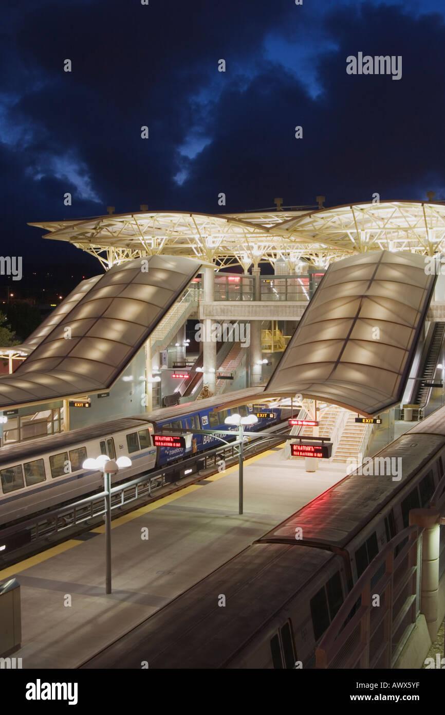 The Millbrae BART Station during dusk Millbrae San Mateo County California USA - Stock Image