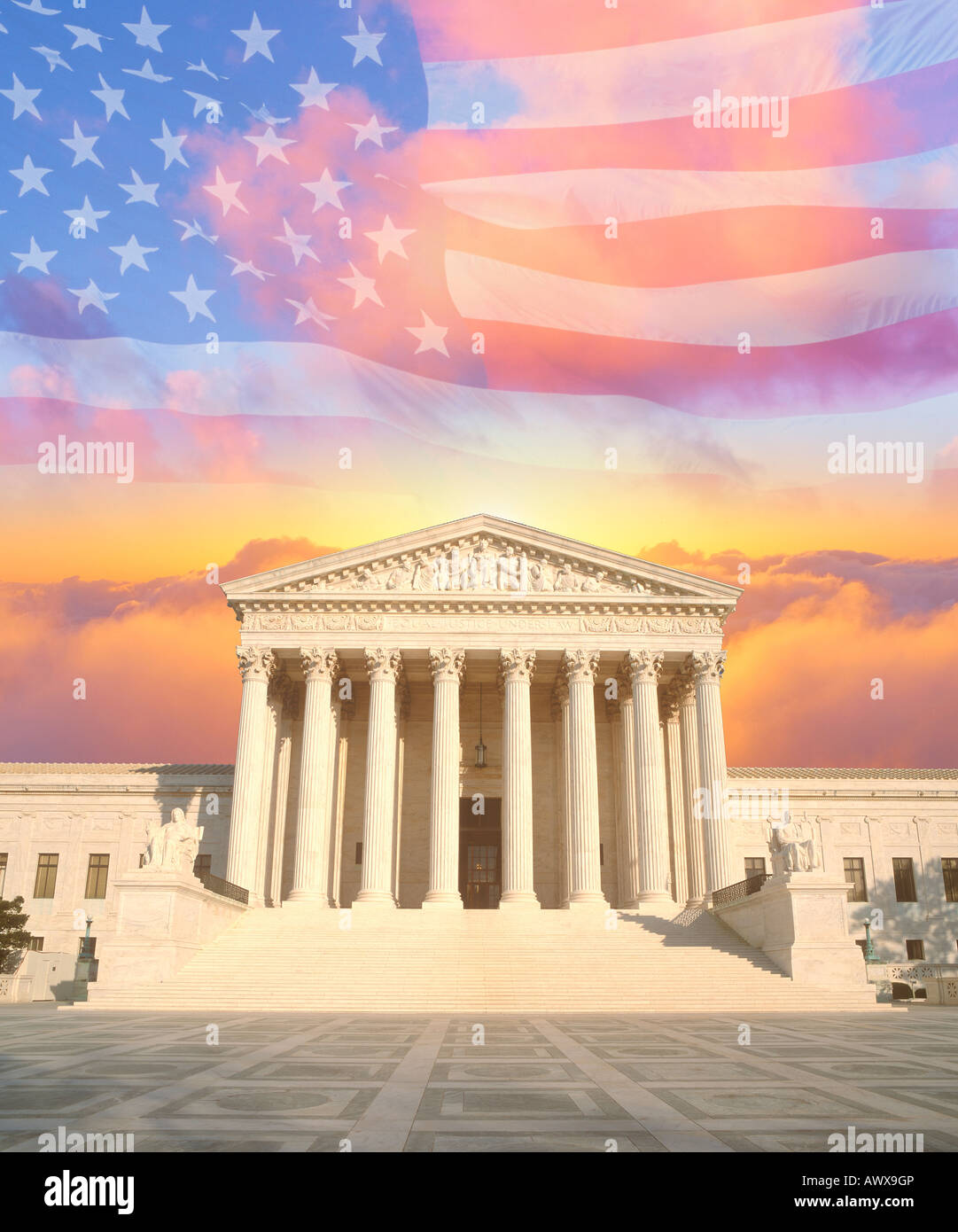 Composite image of the U.S. Supreme Court, American flag, and colorful sunrise sky - Stock Image