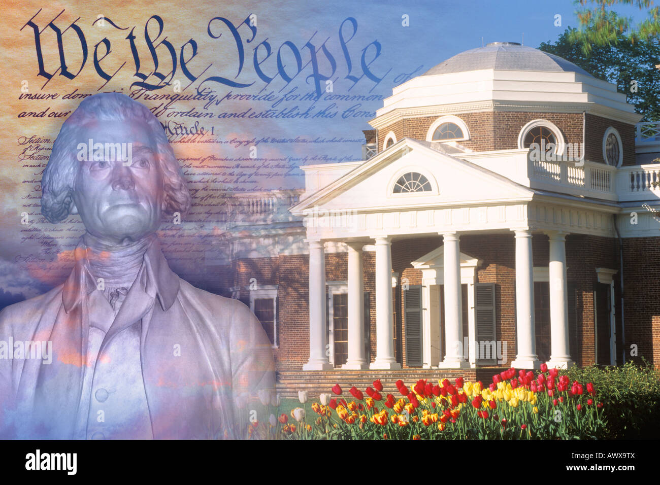Composite image of Monticello, US Constitution, and bust of Thomas Jefferson - Stock Image