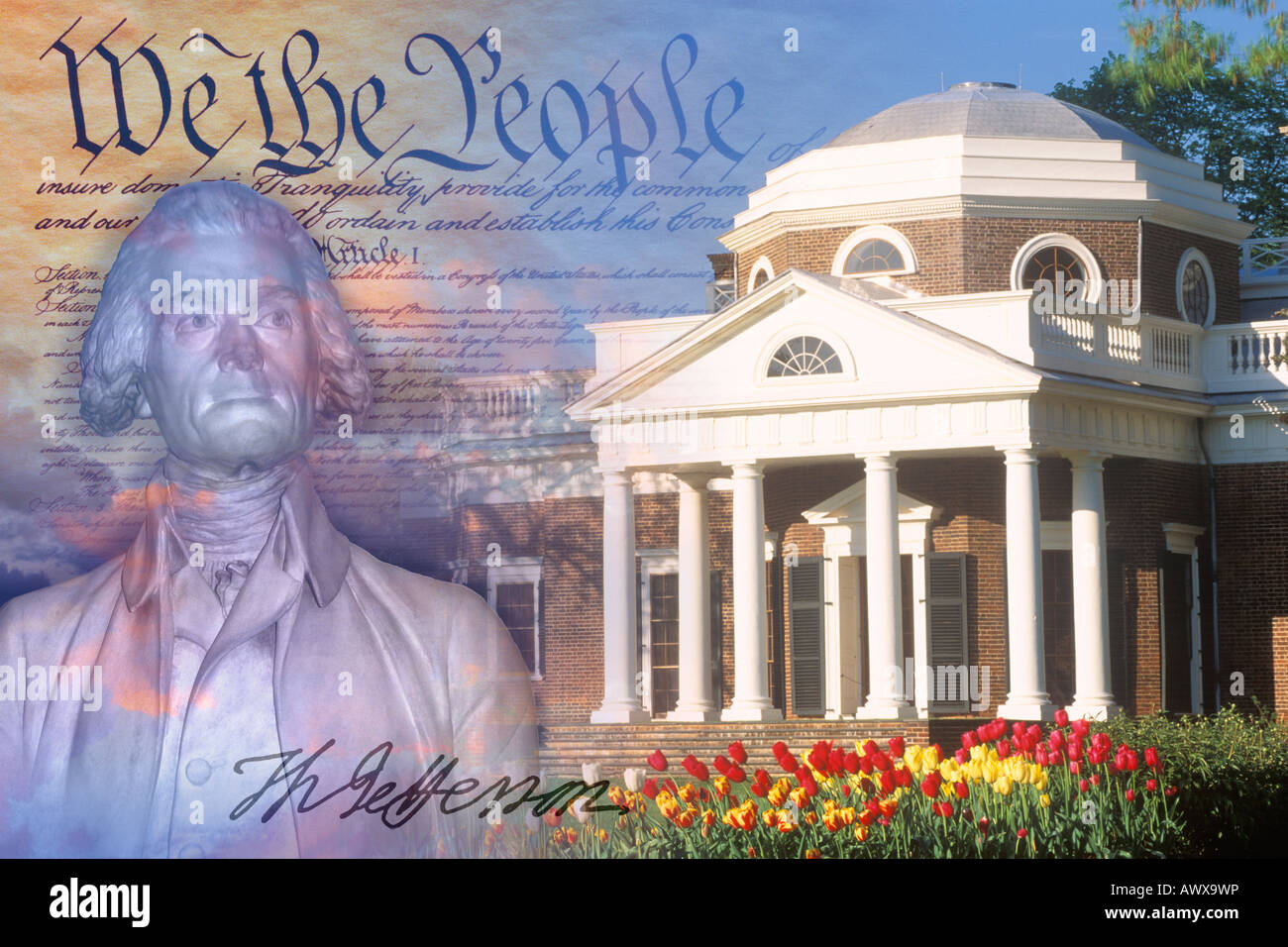 Composite image of Monticello, US Constitution, and bust of Thomas Jefferson with his signature - Stock Image