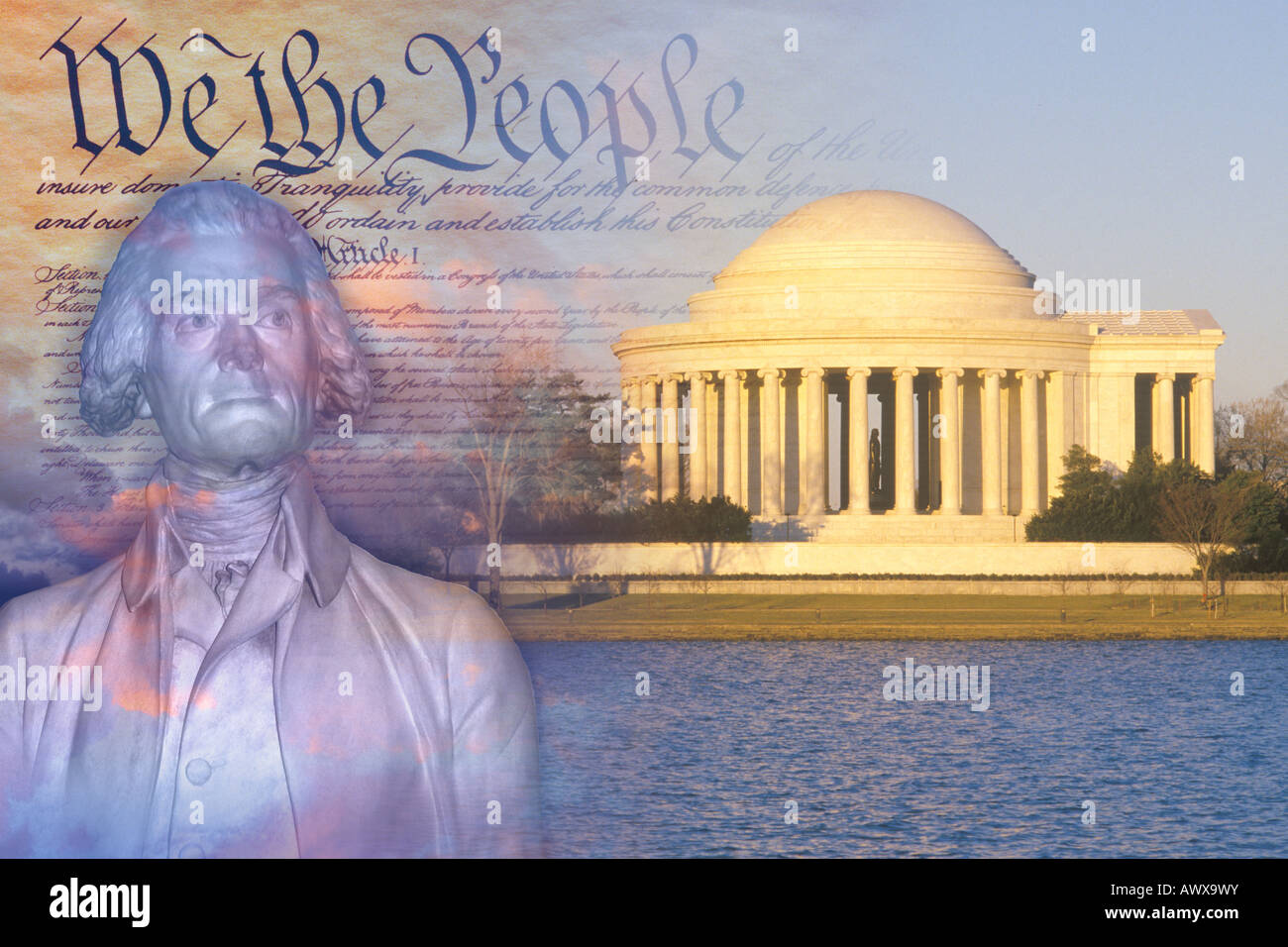 Composite image of Jefferson Memorial, US Constitution, and bust of Thomas Jefferson - Stock Image