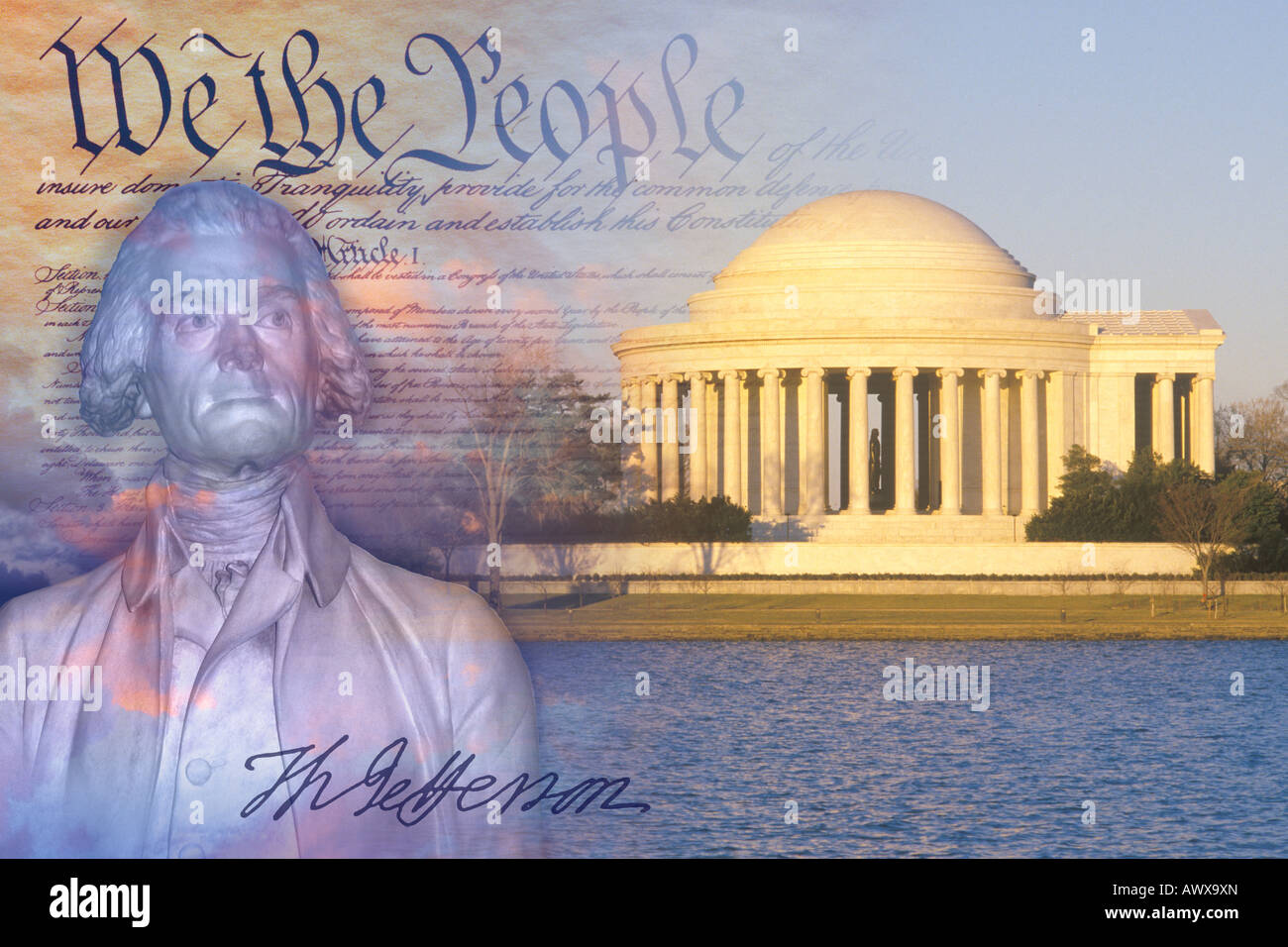 Composite image of Jefferson Memorial, US Constitution, and bust of Thomas Jefferson with his signature - Stock Image