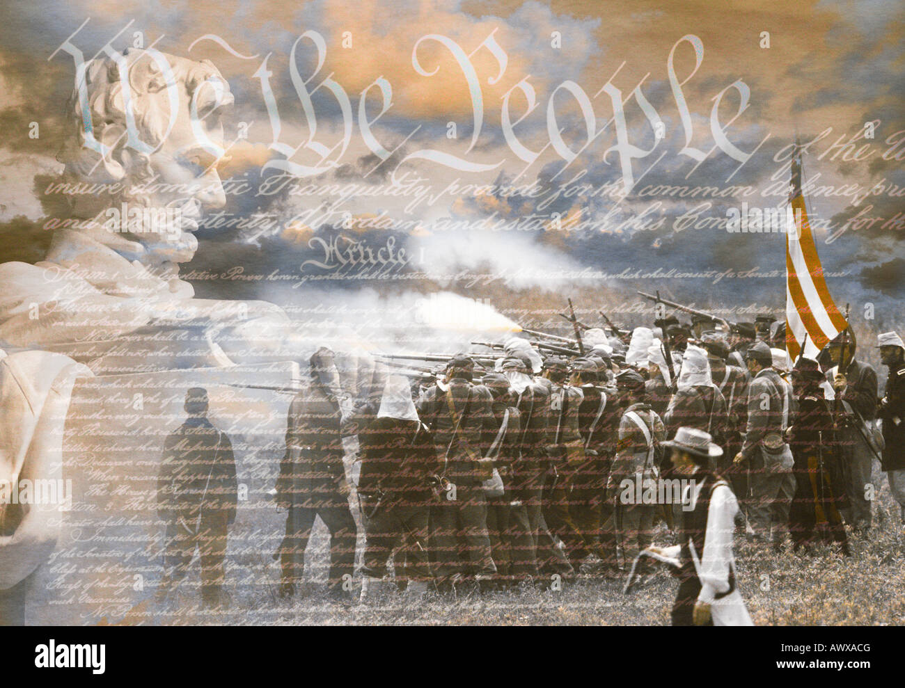 Composite image of Lincoln Memorial and Civil War soldiers in battle with U.S. Constitution - Stock Image