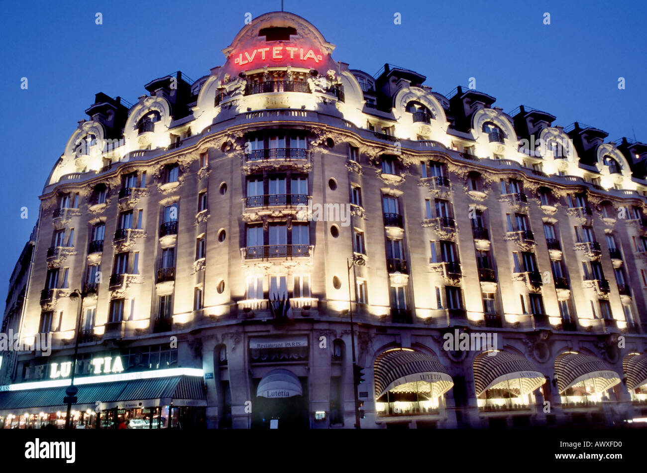 Paris, France, French Luxury Hotel Lutetia, Palace, 'Art Nouveau Style' Exterior Lit Up at Night Façade - Stock Image