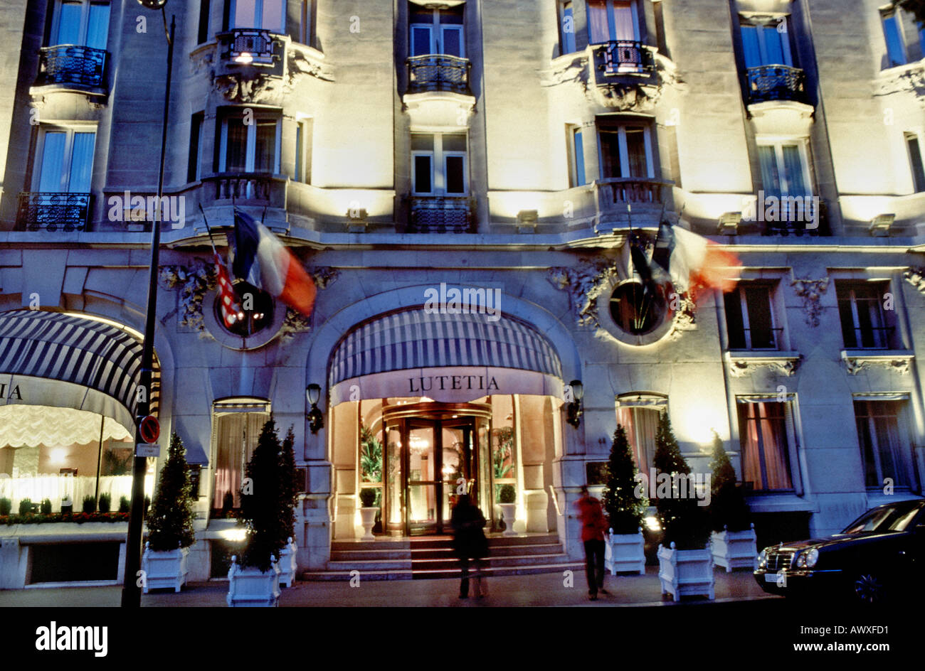 Paris France French Luxury 'Hotel Lutetia' Palace Hotel 'Art Nouveau Style' Exterior Detail Entrance - Stock Image