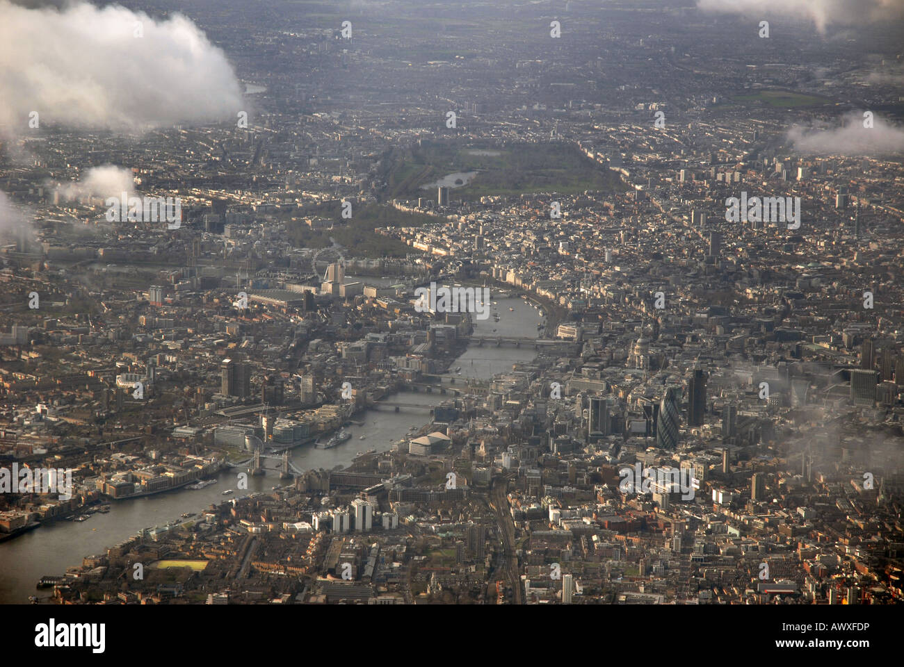 Aerial view of central London looking west across the River Thames. The City and Tower Bridge. England Stock Photo