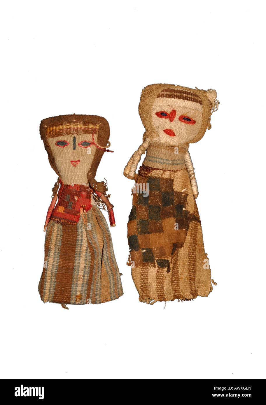Precolombian fabric used to make doll souvenirs from Peru - Stock Image
