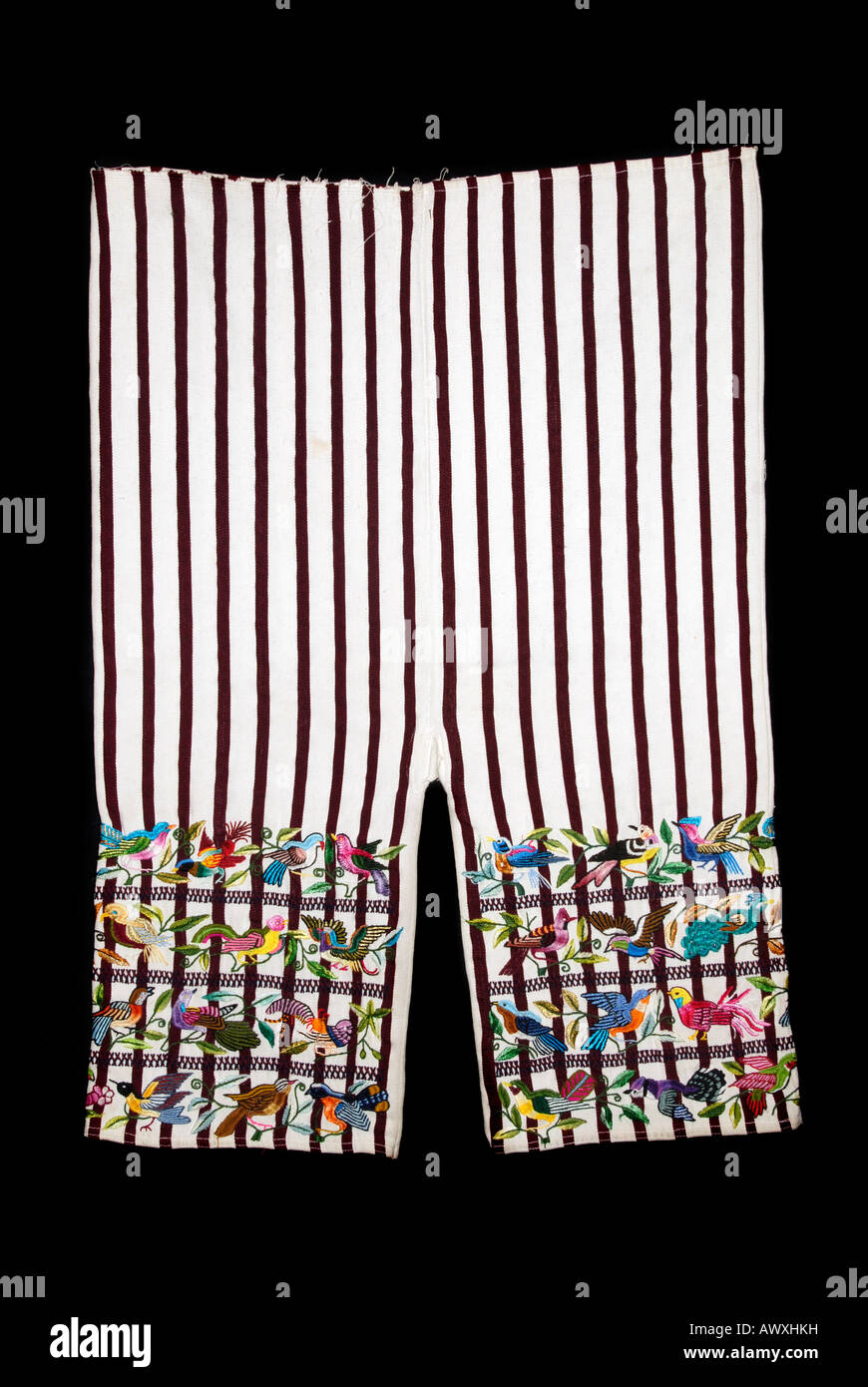 Hand embroidered bird motifs on a pair of trousers from Santiago Atitlán, Guatemala - Stock Image