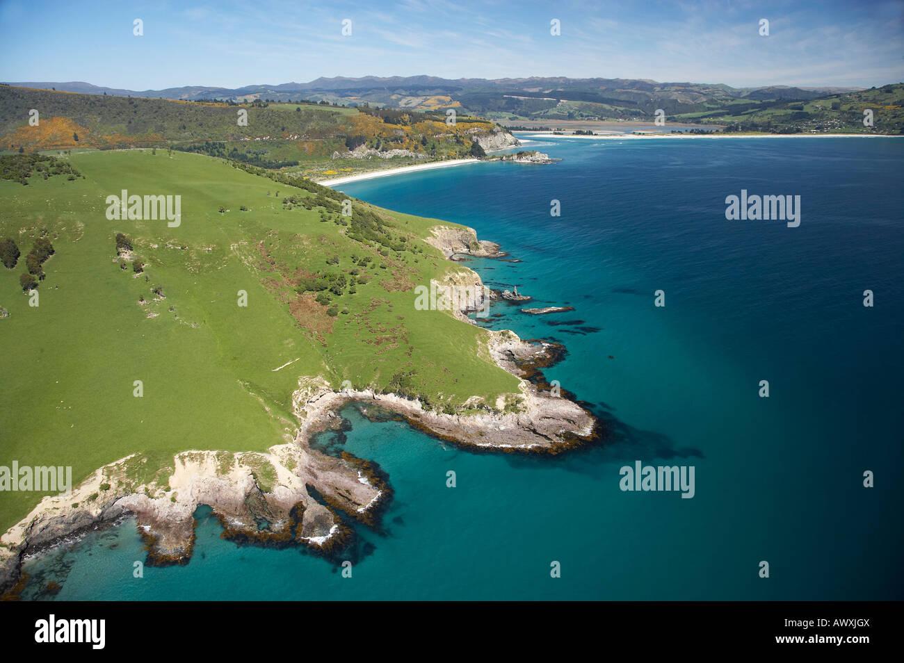 Potato Point Purakanui near Dunedin South Island New Zealand aerial Stock Photo