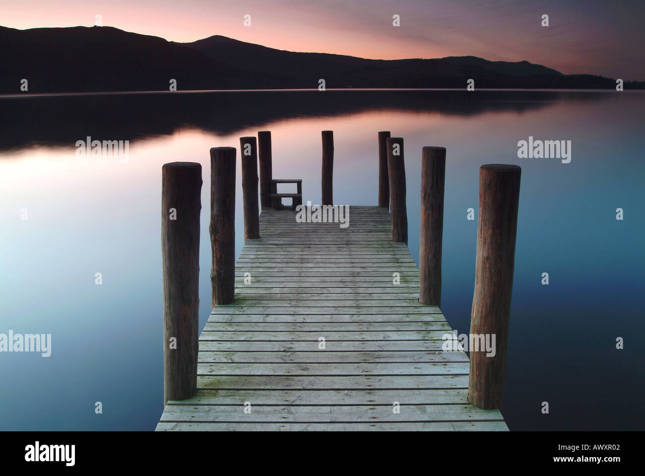Old Jetty on Derwent Water at Evening Twilight, Near Keswick, Lake District, Cumbria, UK - Stock Image