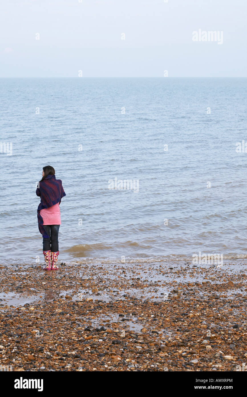 Back Woman Standing Sea Looking To Horizon Stock Photos